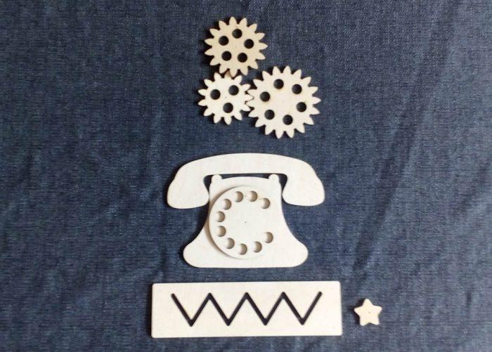 Набор заготовок для бизиборд телефон, бегунок, шестеренки, лабиринт зигзаг