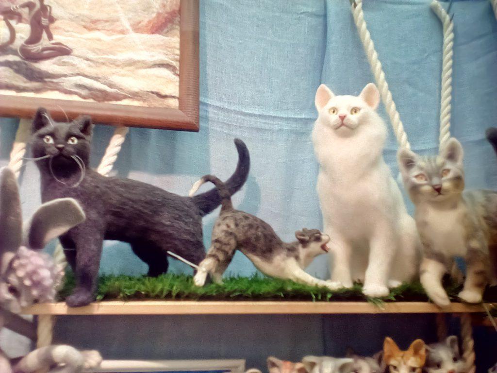 Ручная работа валяние вйлока реалистичные коты